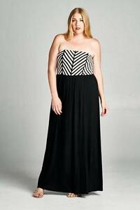 Details about Plus Size Strapless Maxi Dress Casual Cute Summer Size 1X 2X  3X, 14 16 18