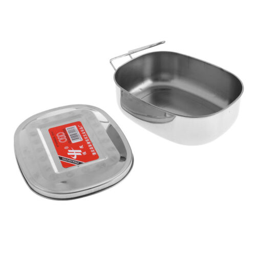 Large Stainless Steel Student Bento Lunch Box Oval Food Container w// Handle