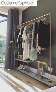 Industrial style clothes rail with shelf, brass, copper cast-iron  eBay