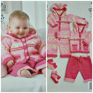 01f0c4da0 KNITTING PATTERN Baby Girls Outdoor set All-In-One Jacket Trousers ...
