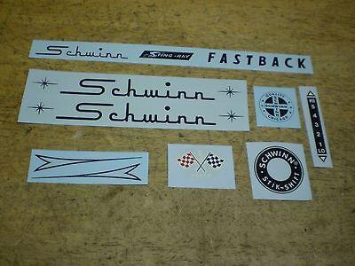 Schwinn Stingray Fastback Bicycle Black Frame Chainguard /& Flags Decal Set