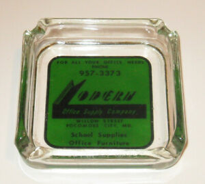 "Vintage MODERN OFFICE SUPPLY CO 3.5"" Sq Glass ASHTRAY - Pocomoke City, Maryland"