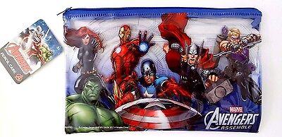 Marvel Comics Avengers Assemble Boy/'s Clear Plastic Graphic Pencil Case NWT