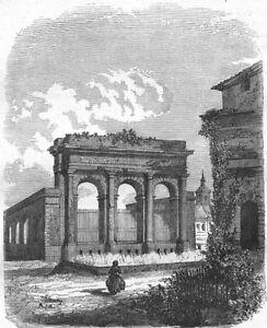 LANDES-Fontaine-d-039-eau-chaude-a-Dax-1881-old-antique-vintage-print-picture