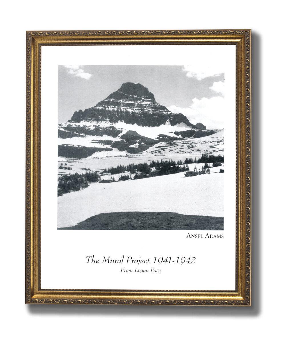 Ansel Adams Logan Pass B W Photo Wall Picture Gold Framed Art Print