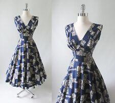Vintage 50's Blue White Surfriders Full Circle Skirt Hawaiian Party Dress M