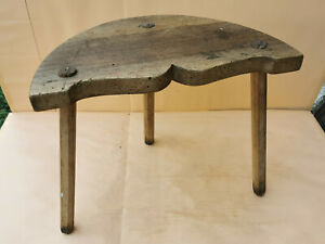 Details About Old Antique Primitive Wooden 3 Legged Stool Chair Tripod Furniture 19th