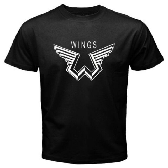 New Paul McCartney Wings Logo Music Legend Men's Black T-Shirt Size S to 3XL
