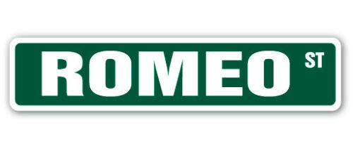 ROMEO Street Sign Childrens Name Room Decal Indoor//Outdoor