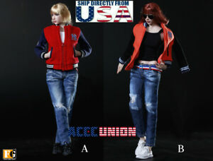 【FREE SHIPPING】1//6 Baseball Jacket Clothing Sneakers Set A for 12/'/' FEMALE body