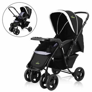 Two-Way-Foldable-Baby-Kids-Travel-Stroller-Newborn-Infant-Pushchair-Buggy-Black