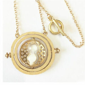 White-Harry-Potter-Time-Turner-Necklace-Sand-Glass-Rotating-Spins-Hourglass