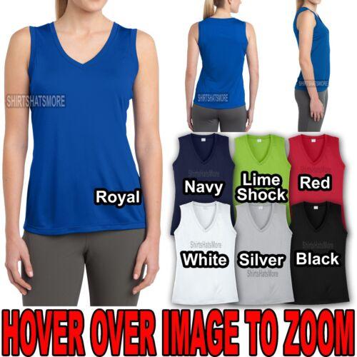 Ladies Moisture Wicking Sleeveless V-Neck T-Shirt Womens Tee Tank XS-XL 2X 3X 4X