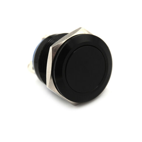 1PC 19mm waterproof black momentary metal push button switch flat top LF