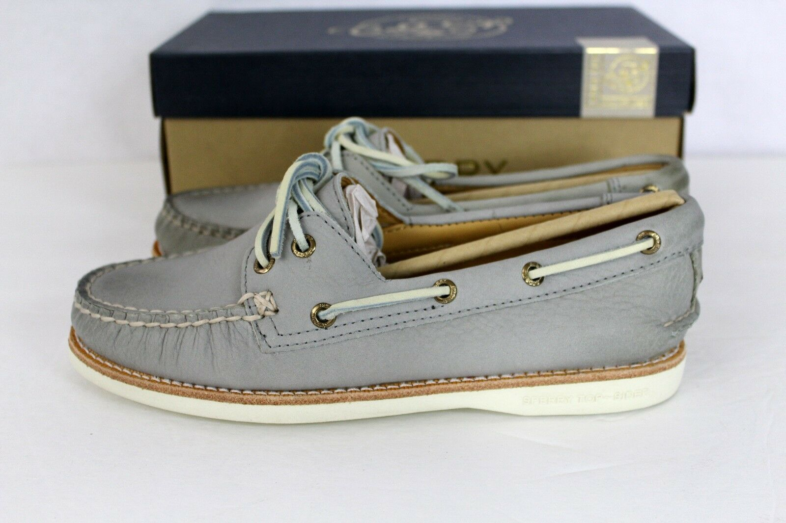 Sperry gold CUP A O Light Grey Leather Women's Boat shoes NEW NIB  5.5 Orig