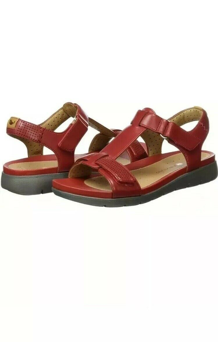 Clarks Unstructured Un Haywood Red Leather Casual Riptape Sandals Size UK 4 E