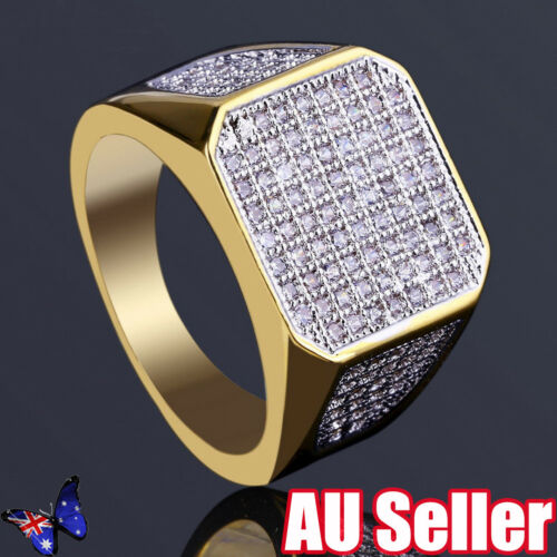 Fashion 14K Gold Finish MicroICED OUT Diamond Creative Hiphop Ring BO