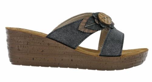 Womens Wedge Sandals Open Toe Inblu Padded Leather Insock Slip Flower UK 2.5-8