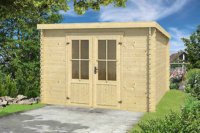 28 mm Gartenhaus 3,0x2,5 m Holzhaus Gerätehaus Schuppen Blockhaus Pultdachhaus