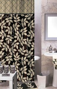 Fabric Shower Curtain Black Beige Leaves Printed Pattern 70x70 Mulberry Ebay