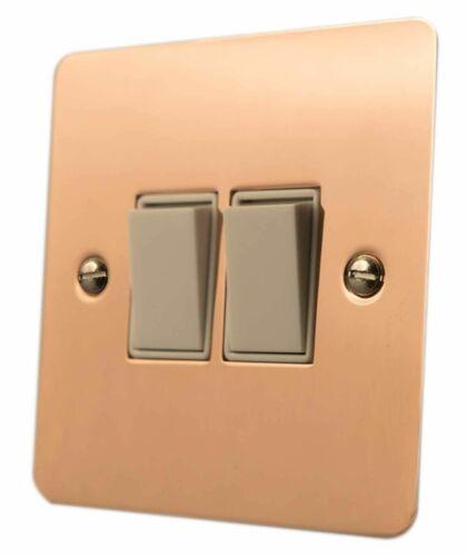 G/&H FBC2W Flat Plate Bright Copper 2 Gang 1 or 2 Way Rocker Light Switch