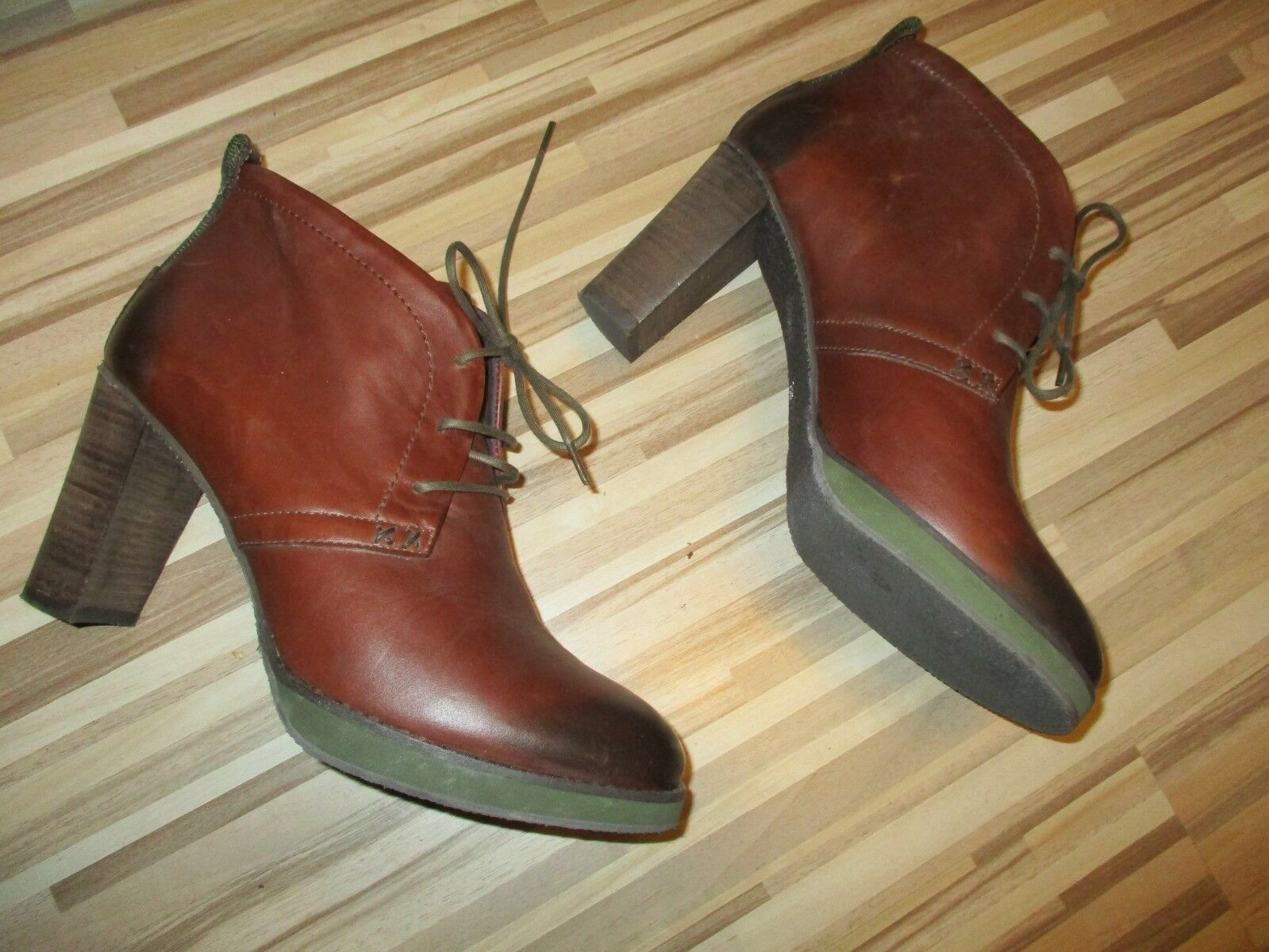 MEXX bottines bottes bottine chaussures lacets Taille 39 cuir marron