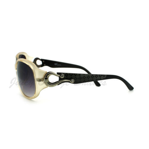 Womens Oval Round Sunglasses Horse Shoe Rhinestone Embellished