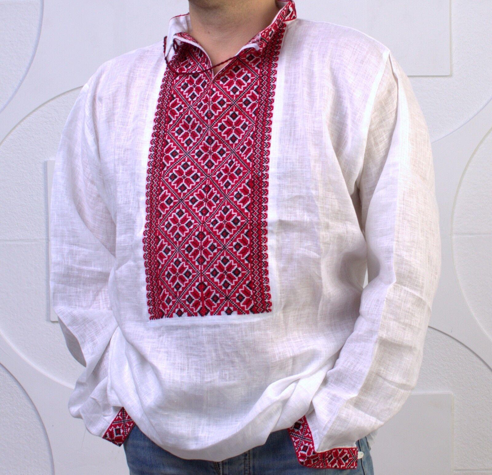 Ukrainian HAND Embroidery Mens VYSHYVANKA LINEN SHIRT Wedding Dress 3XL