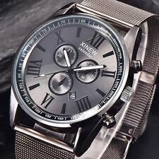 XINEW Mode Quarz Militär Herrenuhr Date Edelstahl Luxus Sport Uhren Uhr