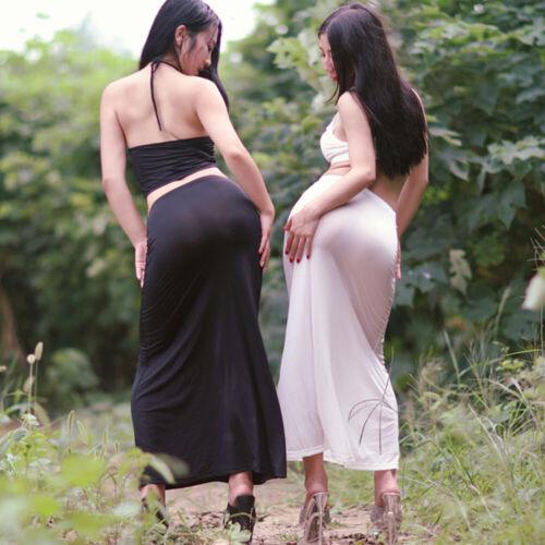 NEU Damen Ultrathin Transparent Lang Hohe Elastische Taille seidig Maxirock Rock