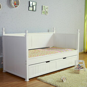 Design Siesta White Nz Pine Girls Princess Single Trundle Day Bed
