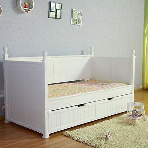 Design Siesta White Nz Pine Girls Princess Single Trundle Day Bed