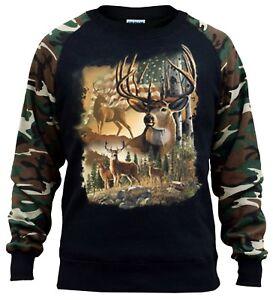 Men/'s American Hunter Camo//Black Raglan Hoodie Mossy Deer Hunting Wildlife USA