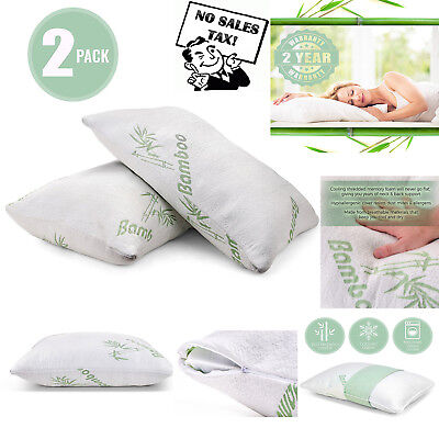 2 Pcs Bamboo Memory Foam Cooling Pillow for Neck Pain Side Back Stomach Sleepers