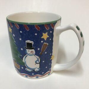 Mikasa-Christmas-Glow-Coffee-Cup-Mug-DW108-Snowman-Reindeer-Trees-Star-Sled-Blue