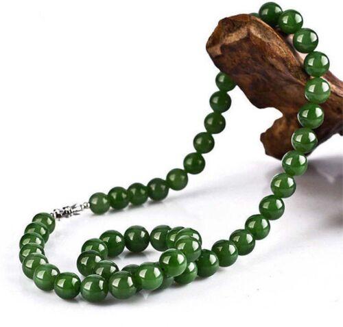 "Pretty Handmade 10 mm Vert Jade Pierres Précieuses Perles Collier 18/"""
