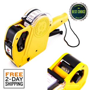Details about 8 Digits Label Maker Machine Price Numerical Tag Gun With  Sticker Labels And Ink