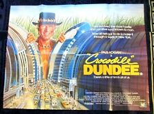 CROCODILE DUNDEE 1986 VINTAGE 40X30 INCH REAL UK QUAD FILM POSTER