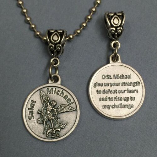 Saint St. Michael Archangel Protection Medal Pendant with Prayer Silver Tone