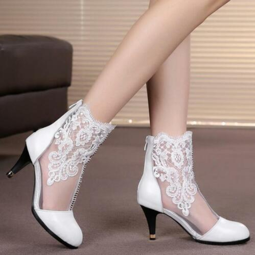 Party Womens Leather Floral Mesh Lace Ankle Boots Kitten Mid heels Dress Shoes