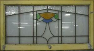 """OLD ENGLISH LEADED STAINED GLASS WINDOW Cute Geometric Band 21.25/"""" x 16.25/"""""""