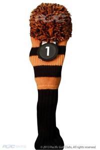 Tour-1-460cc-Driver-Black-Orange-Golf-Headcover-Knit-Pom-Pom-Classic-Head-Cover