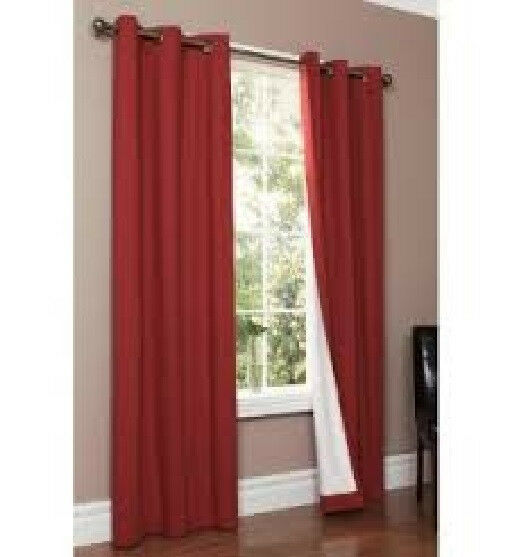 1 panels  BLACKOUT BURGUNDY  grommet silk window  curtain lined  MICRO