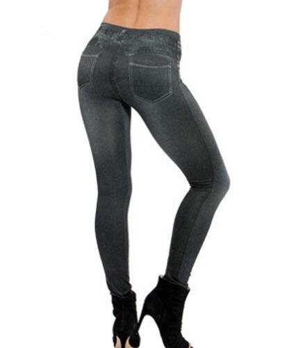 Pantalones Jeans Moderno Elegante de Mujer Adelgazante de Algodon y Polyester