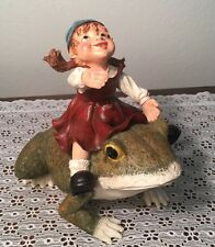 Gnome Girl Laughing Riding on a Frog Figurine Resin Yard Garden Porch Statue