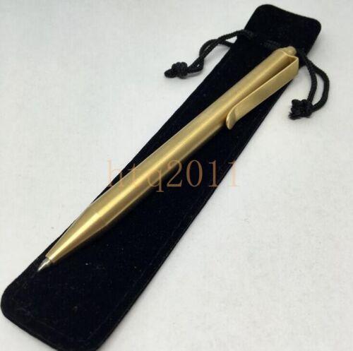 Handmade Spring Type EDC Retro Copper Brass Ball Pen Pocket Pen G2 Refill