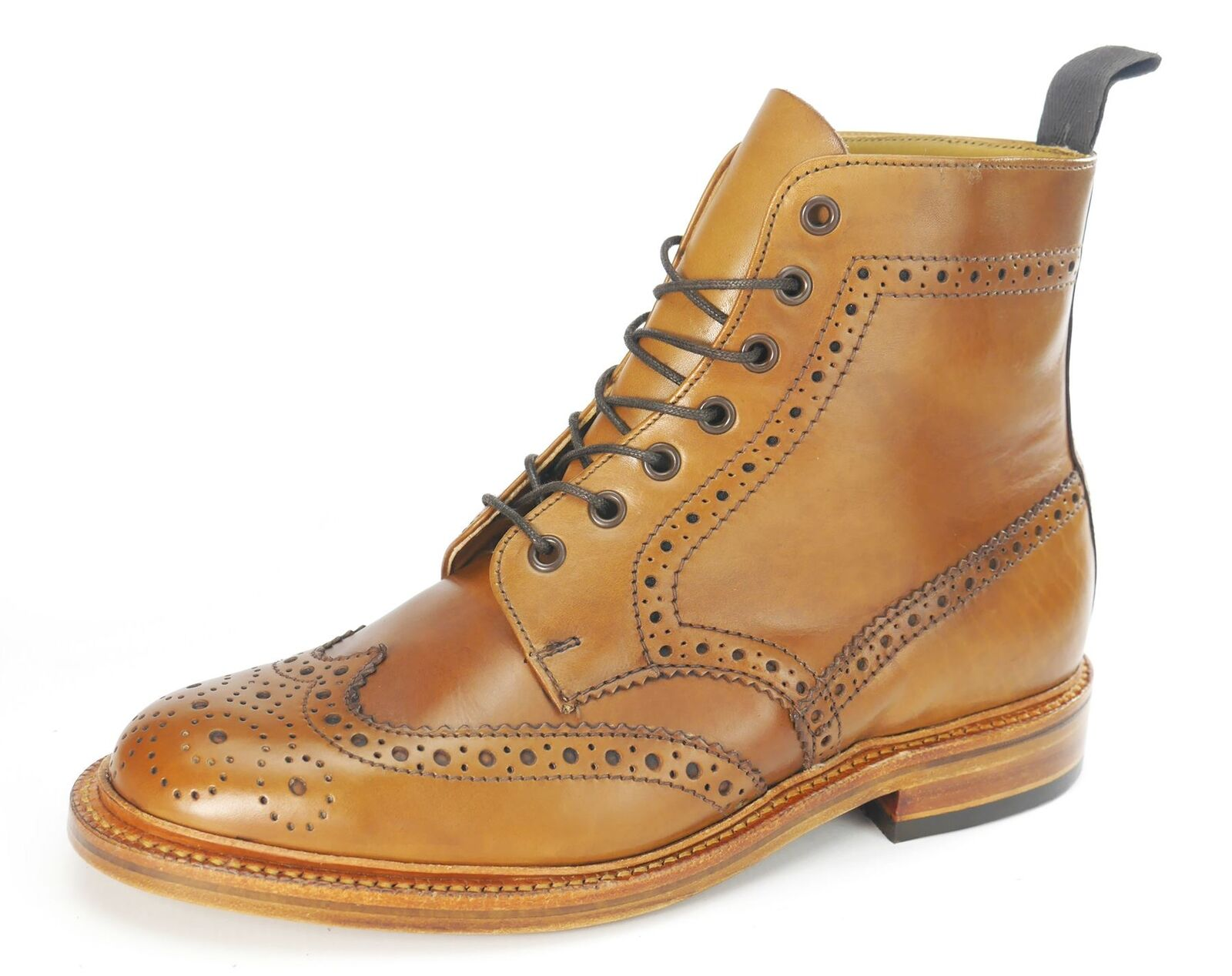 Charles Horrel Newmarket Britsh Welted   Herren Brogue Ankle Stiefel Tan Braun