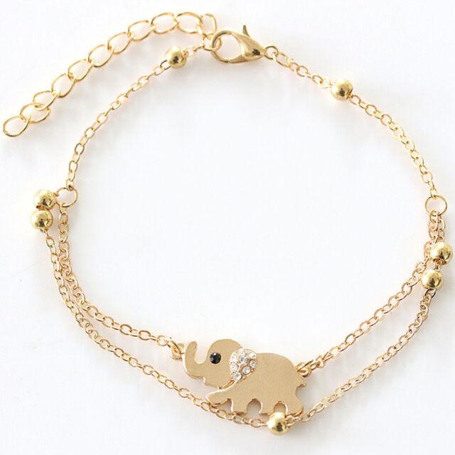 Fashion Women Sexy Rhinestone Gold Elephant Charm Chain Bracelet Jewelry Gift