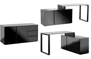 Schreibtisch Bürotisch Mit Kommode Marin Schwarz Hochglanz Lack Ebay