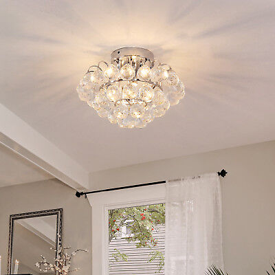 Ceiling Lamp Chandelier Flush Mount Pendant 3 Light Crystal Silver F30cm Hallway 5055974869004 Ebay